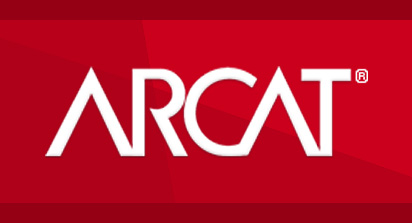 Logo of ARCAT on a red background.