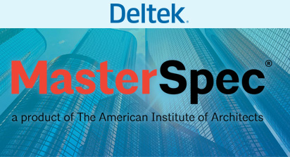 Deltek Master Spec logo on a blue backround of high-rise building.