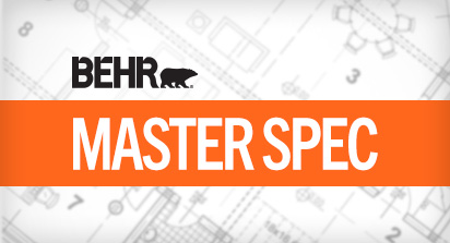 An image with the words BEHR MASTER SPEC with an image of a blueprint in the background.