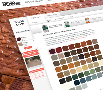 A close up view of a screen shot of BEHR Wood Stain Coatings tool. The image of the tool has different tabs and is displaying several color chips.