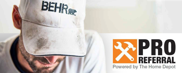 Close up image of a pro painter wearing a hat looking down. On the side lower left corner there is a logo which says Pro Referral Powered by The Home Depot.
