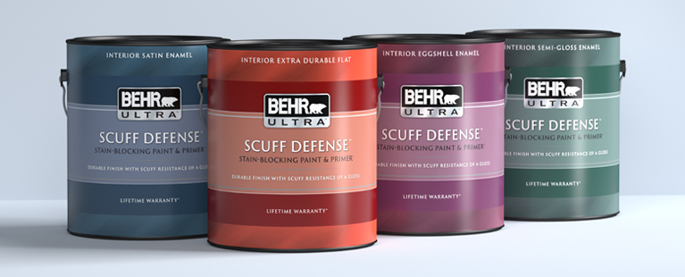 Image of a 1 gallon Behr ULTRA SCUFF DEFENSE Product Line up on a gray background