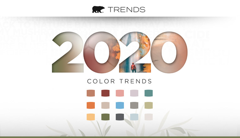 A bear image with the word TRENDS next to it. Beneath are the words 2020 Color Trends with the color chips of all the 2020 Behr trend colors.
