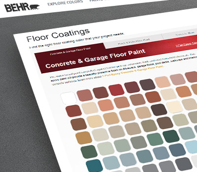 A close up view of a screen shot of BEHR Floor Coatings tool. The image of the tool has different tabs and is displaying several color chips.