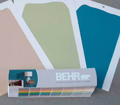 A layout of 3 drawdowns with different colors with the BEHR Fan Deck.