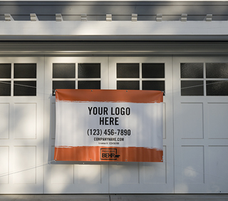 An image of a banner that is displayed in front of a garage door. The banner is printed with the words YOUR LOGO HERE - (123) 456-7890 - company.com - PROUD USER BEHR.