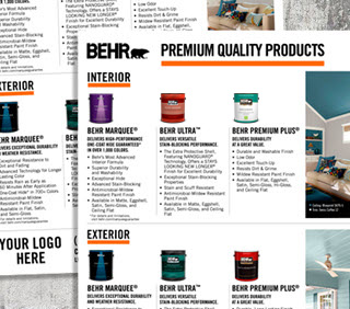 A close up view of a flyer document with images of BEHR products and at the bottom  the words - YOUR LOGO HERE.