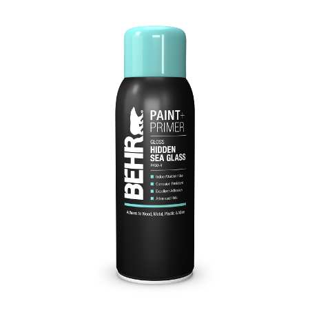 BEHR Aerosol paint and primer hidden sea glass spray can image.