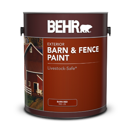 Can of Behr exterior barn & fence paint