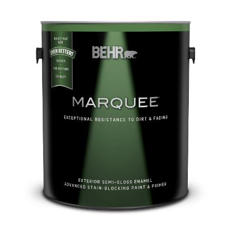 Can of Behr Marquee exterior semi-gloss enamel paint and primer