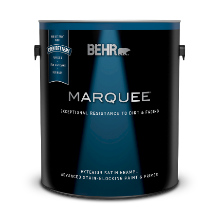 Can of Behr Marquee exterior satin enamel paint and primer
