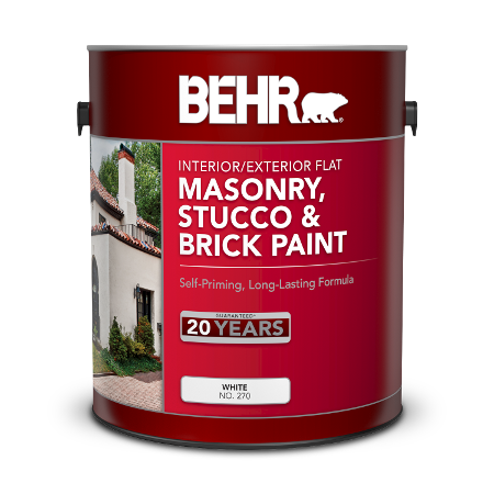 Can of Behr masonry, brick and stucco white paint