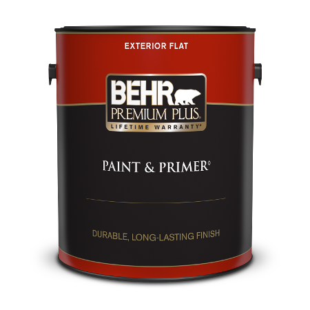 Behr Premium Plus Exterior Flat Paint can with a plastic lid