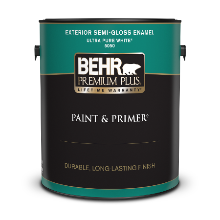 Behr Premium Plus Exterior Semi-Gloss Enamel Paint can with a plastic lid