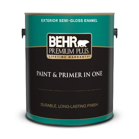 Can of Behr paint and primer in one exterior semi-gloss enamel