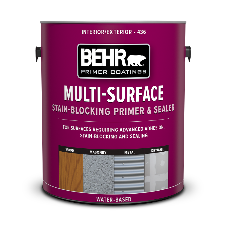 Can of Behr multi-surface stain block paint & Sealer