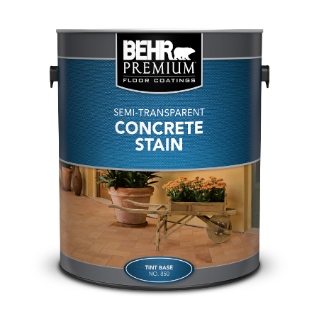 Can of semi-transparent concrete stain