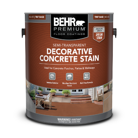 Can of semi-transparent decorative concrete stain