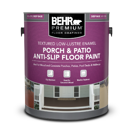 BEHR PREMIUM Porch and Patio Anti-Slip Floor Paint - Textured Low-Lustre Enamel 1 gallon image.