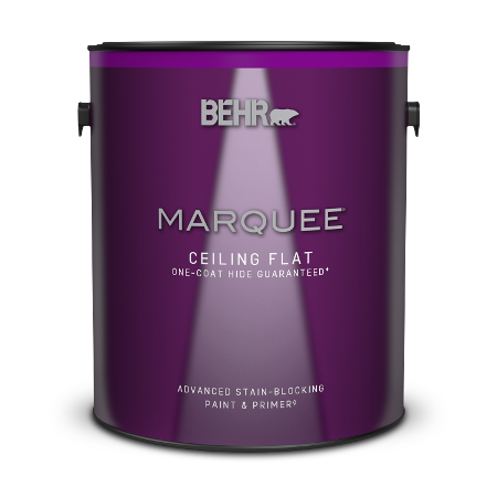 Can of Behr Marquee Ceiling Flat Paint and Primer