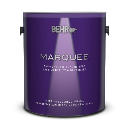 Can of Behr Marquee interior eggshell enamel paint and primer