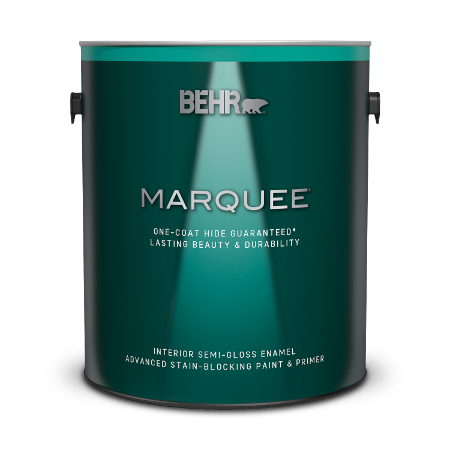 Can of Behr Marquee interior semi gloss enamel paint and primer