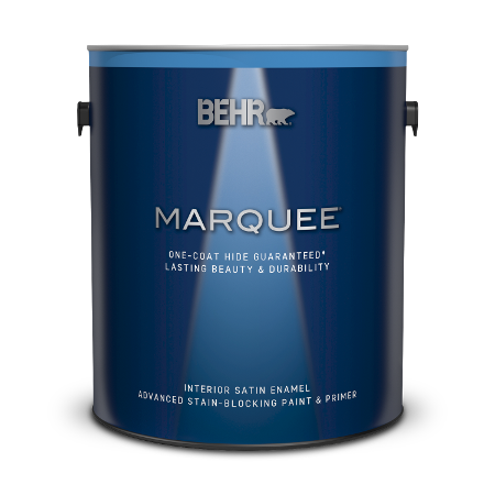 Can of Behr Marquee interior satin enamel paint