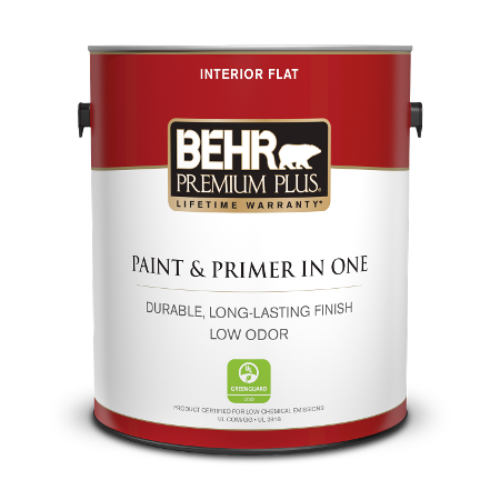 Can of paint & primer in one interior flat