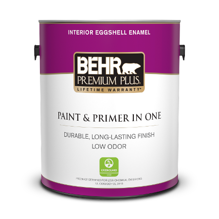 Can of paint & primer in one interior eggshell enamel