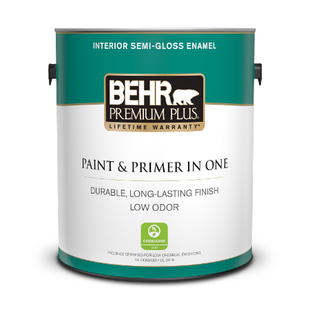 Can of paint & primer in one interior semi-gloss enamel
