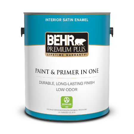 Can of paint & primer in one interior satin  enamel