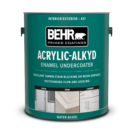 Can of acrylic alkyd enamel undercoater