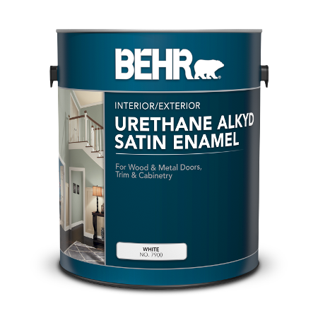 Can of Behr urethane alkyd satin enamel