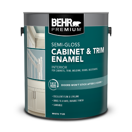 BEHR PREMIUM Cabinet and Trim Interior Semi-Gloss Enamel 1 Gallon product can Image.
