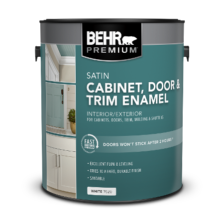 BEHR PREMIUM Cabinet and Trim Interior Satin Enamel 1 Gallon product can Image.
