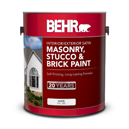 Can of Behr masonry, stucco & brick paint