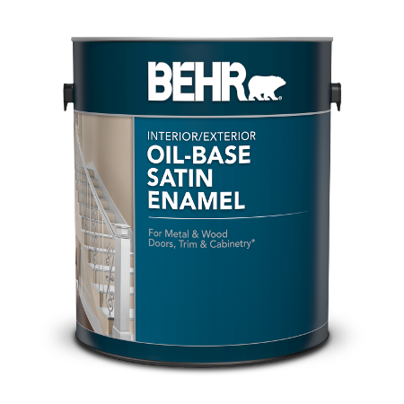 Can of BEHR Oil-Base Satin Enamel