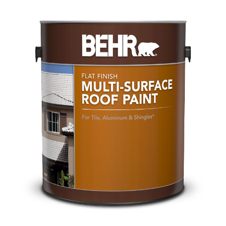 Can of Behr multi-surface roof paint