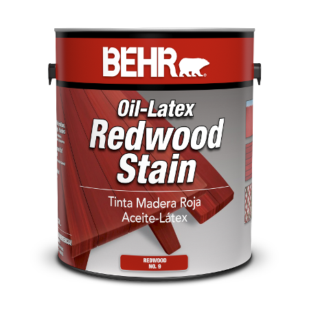 Can of oil-latex redwood stain