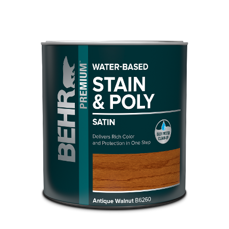 Behr Interior Water-based Wood Stain and Polyurethane in one can image.