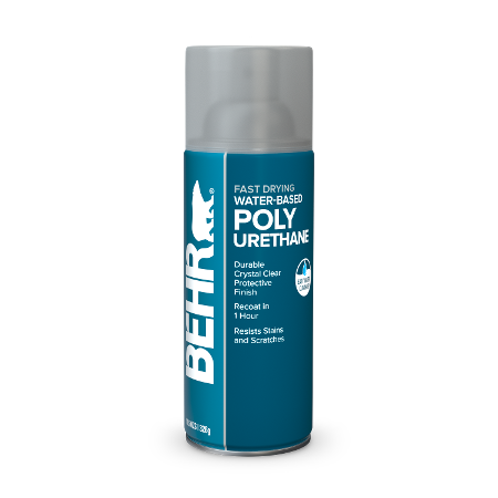 Behr interior Water-based Polyurethane aerosol can image.