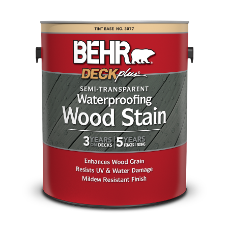 1 gal can of Behr DeckPlus Semi Transparent Wood Stain.