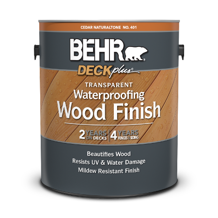 1 gal can Behr DeckPlus Transparent Wood Finish.
