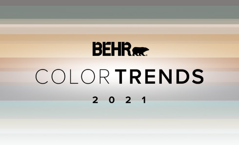 2021 Color Trends logo with color chips of 20201 Trends colors below