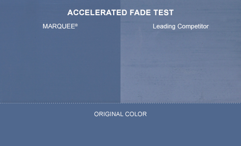 Accelerated Fade test showing Behr Marquee with a dark blue background