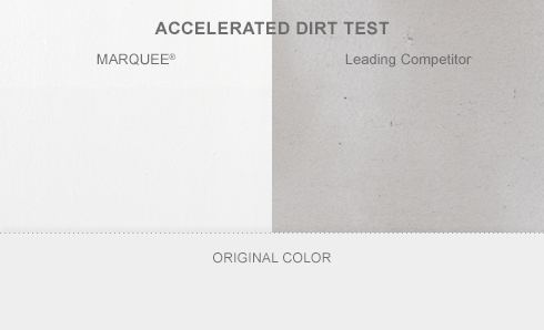 Accelerated dirt test showing Behr Marquee with white background