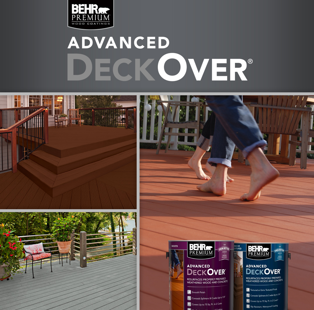 BEHR ADVANCED DeckOver® Waterproofing Coatings for Wood and