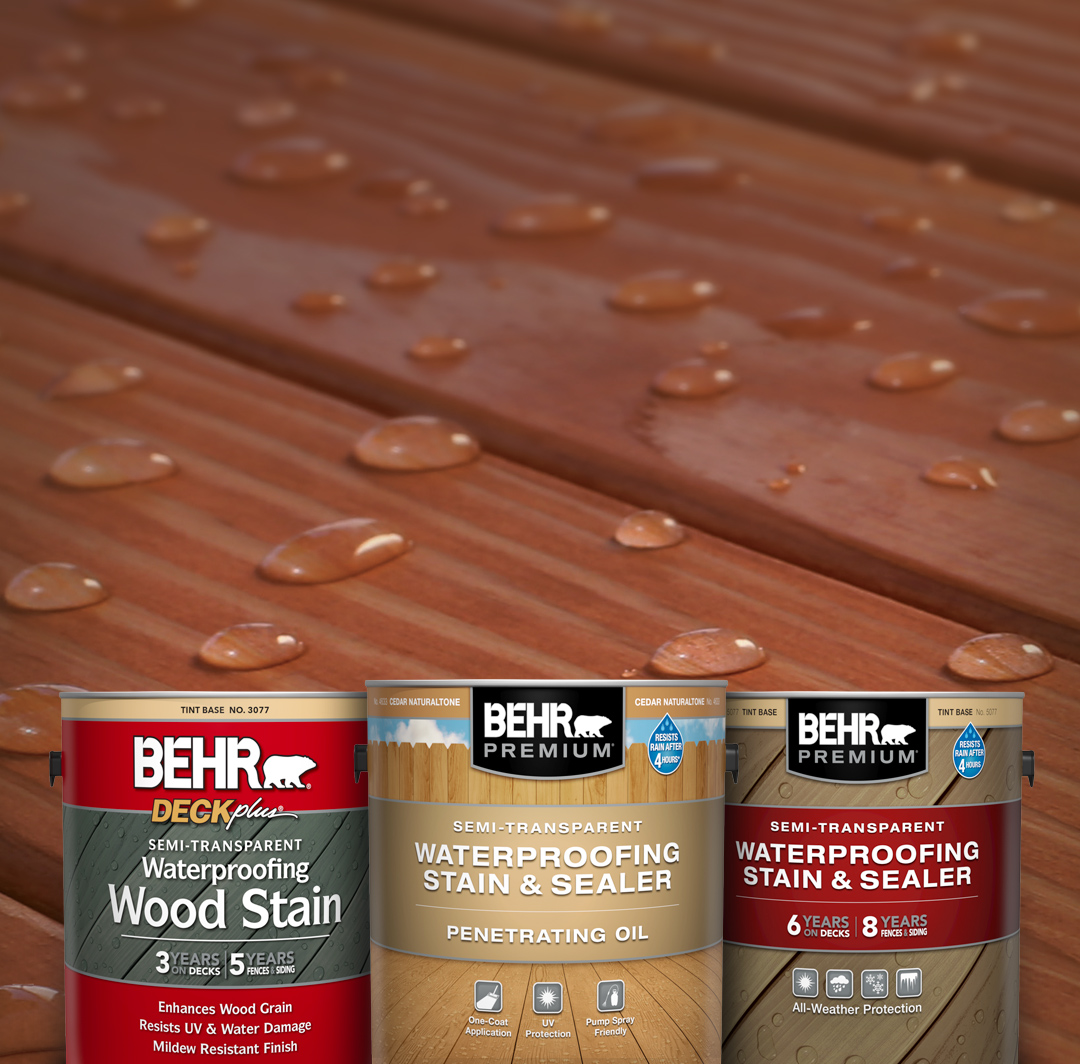 Mobile version of Behr Semi Transparent Stain Products against a wood deck.
