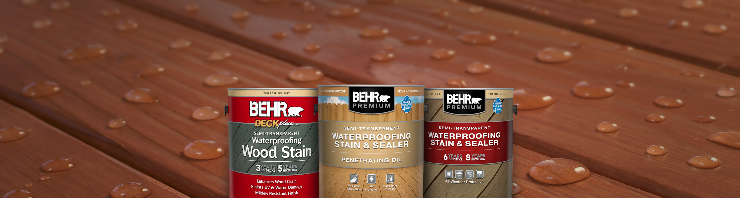 Behr Semi Transparent Stain Products against a wood deck.
