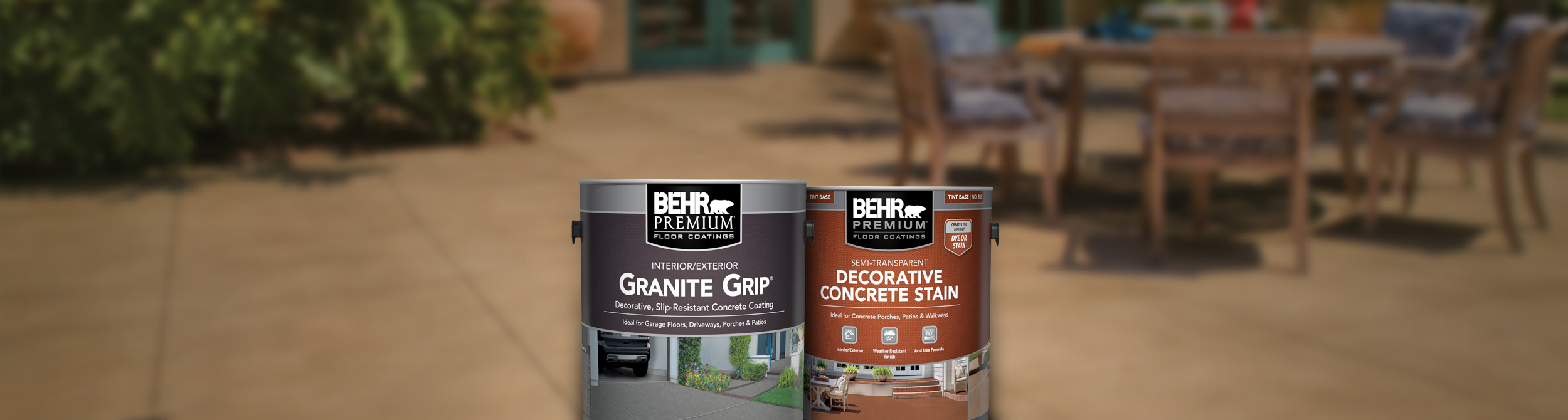 Two cans of Behr concrete products with concrete flooring in the background.